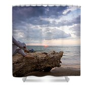 Enjoing The Sunset Shower Curtain by Aged Pixel