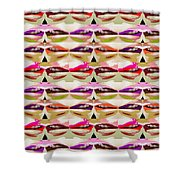 Enjoy Bliss Of Artistic Sensual Aura Lips  Kiss Romance Pattern Digital Graphic Signature   Art  Nav Shower Curtain