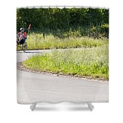 Enjoying The Red Poppy Ride Shower Curtain