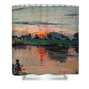 Enjoying The Sunset By Elmer's Pond Shower Curtain