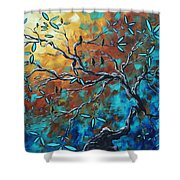 Enormous Abstract Bird Art Original Painting Where The Heart Is By Madart Shower Curtain
