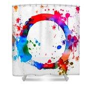 Enso Circle Paint Splatter Shower Curtain