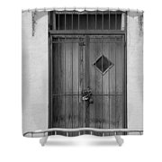 Enter In Black And White Shower Curtain