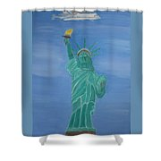 Enterprise On Statue Of Liberty Shower Curtain by Vandna Mehta