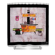 Enterprise Woodstove - Yellow Shower Curtain by Barbara Griffin