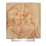 Enthroned Madonna And Child Shower Curtain