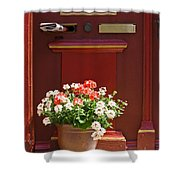 Entrance Door With Flowers Shower Curtain