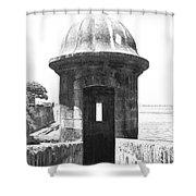 Entrance To Sentry Tower Castillo San Felipe Del Morro Fortress San Juan Puerto Rico Bw Film Grain Shower Curtain