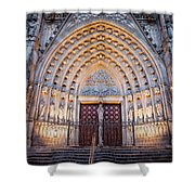 Entrance To The Barcelona Cathedral At Night Shower Curtain