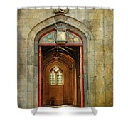 Entrance To The Gothic Revival Chapel. Streets Of Dublin. Painting Collection Shower Curtain by Jenny Rainbow