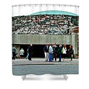 Entry To Church In The Rock In Helsinki-finland Shower Curtain