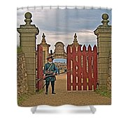 Entry To Fortress In Louisbourg Living History Museum-1744-ns Shower Curtain