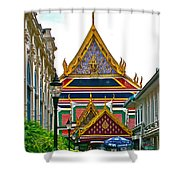 Entryway To Middle Court Of Grand Palace Of Thailand In Bangkok Shower Curtain