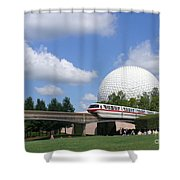 Epcot And The Monorail Ride Shower Curtain