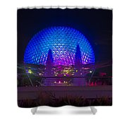 Epcot At Night - Spaceship Earth Shower Curtain