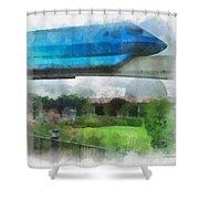 Epcot Globe And Blue Monorail Walt Disney World Photo Art 01 Shower Curtain