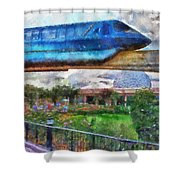 Epcot Globe And Blue Monorail Walt Disney World Photo Art 02 Shower Curtain