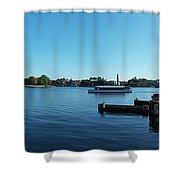 Epcot World Showcase Lagoon Panorama 01 Walt Disney World Shower Curtain