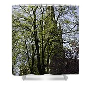 Episcopal Cathedral In Edinburgh Visible Through Trees Shower Curtain