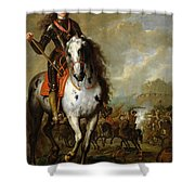 Equestrian Portrait Of Prince Eugene De Savoie 1663-1736 C.1700-10 Oil On Panel Shower Curtain