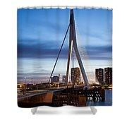 Erasmus Bridge And City Skyline Of Rotterdam At Dusk Shower Curtain
