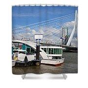 Erasmus Bridge In Rotterdam Downtown Shower Curtain by Artur Bogacki