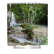 Erawan National Park In Thailand Shower Curtain