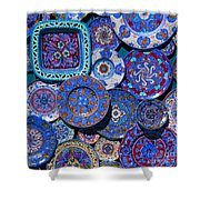 Erice Italy Plates Blue Shower Curtain