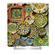 Erice Sicily Plates Yellow Shower Curtain