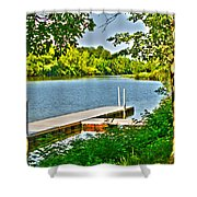 Erie Canal Dockage Shower Curtain