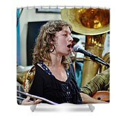 Erika Lewis With Tuba Skinny Shower Curtain
