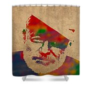 Ernest Hemingway Watercolor Portrait On Worn Distressed Canvas Shower Curtain