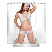 Erotic Blonde In White Lingerie Shower Curtain