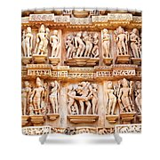 Erotic Human Sculptures Khajuraho India Shower Curtain