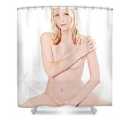 Erotic Nude Portrait On White Bed Shower Curtain