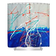 Erupting Blues Shower Curtain