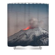Eruption Of A Volcanoe At Night Shower Curtain