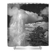 Eruptions By The Clock Shower Curtain
