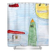 E's Helicopters Shower Curtain