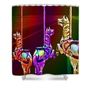 Escape Of The Carousel Horses Shower Curtain