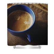 Espresso With Cream In Blue Porcelain Shower Curtain