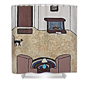 Essence Of Home - Black And White Cat In Living Room Shower Curtain