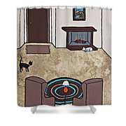 Essence Of Home - Cat By Fireplace Shower Curtain