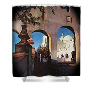 Esther Henderson Photo Back North Entrance  Of San Xavier Mission Tucson Arizona 1957-2013  Shower Curtain