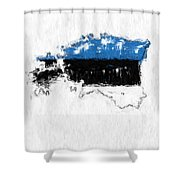 Estonia Painted Flag Map Shower Curtain