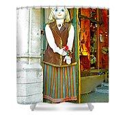 Estonian Greeter In Old Town Tallinn-estonia Shower Curtain