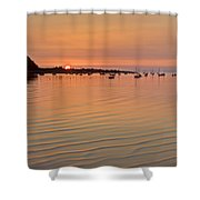 Estruary Harbour Sunset Shower Curtain