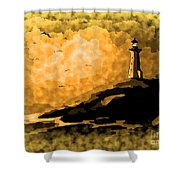 Ethereal Lighthouse Shower Curtain