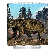 Euoplocephalus Dinosaur Grazing Shower Curtain