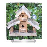 Evans's Birdhouse - Oil Paint Shower Curtain